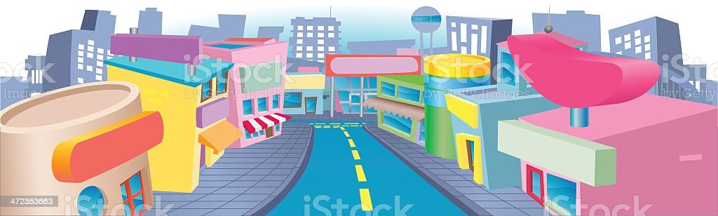 Illustration of shopping street royalty-free illustration of shopping street stock vector art & more images of architecture