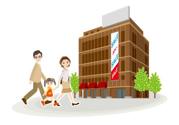 stockillustraties, clipart, cartoons en iconen met illustratie van winkelen met familie - warenhuis