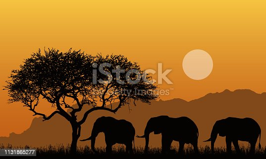 Illustration of silhouettes of mountain landscape of african safari with tree, grass and three elephants. Below the orange sky with the sun - vector