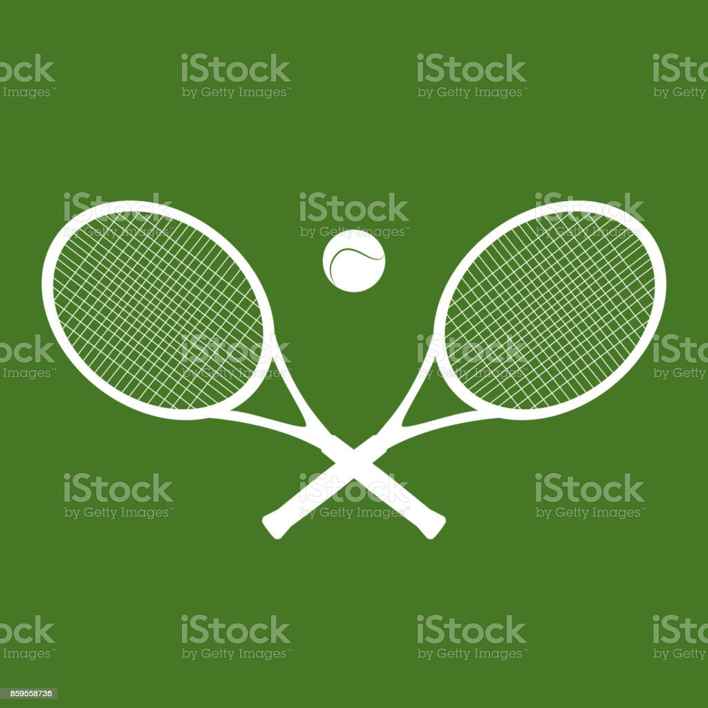 Illustration of silhouettes of rackets and a ball for tennis. vector art illustration