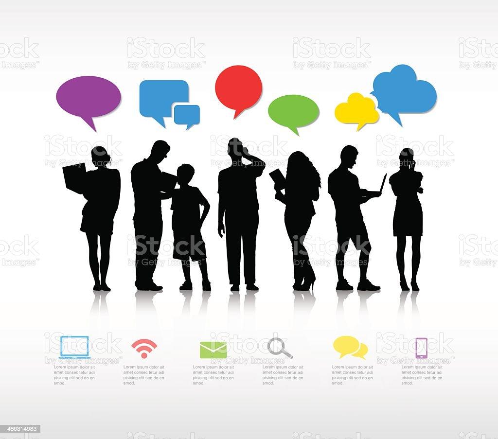 Illustration of silhouettes using social media vector art illustration