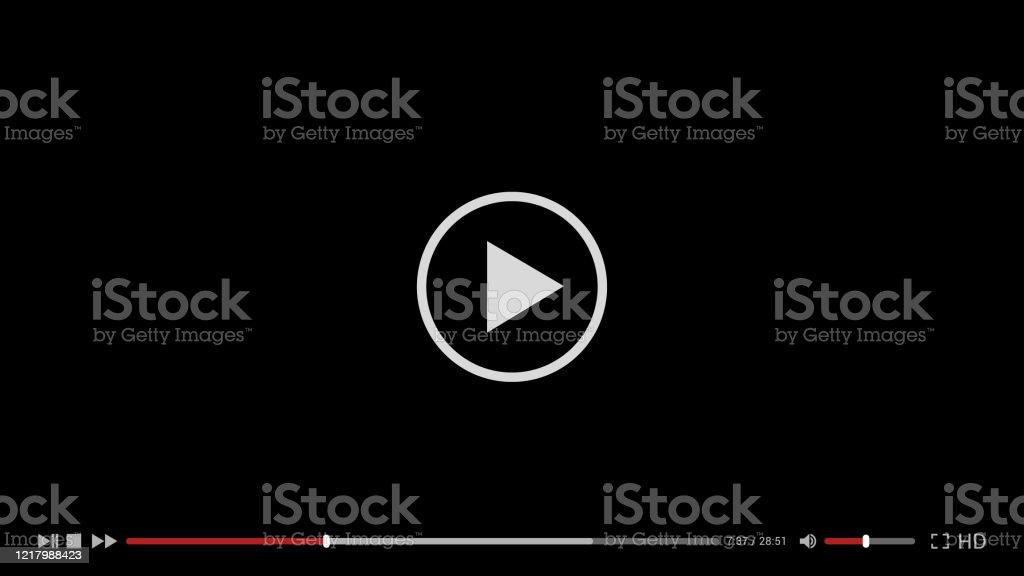 Illustration du modèle simple noir de conception de lecteur vidéo pour l'ordinateur, l'ordinateur portable ou l'application de téléphone mobile. Conception plate, Vector - clipart vectoriel de Affichage digital libre de droits