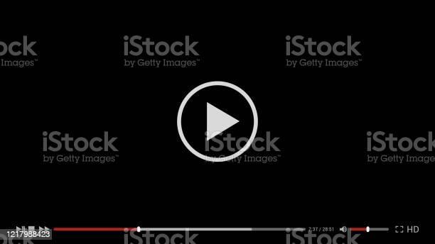 Illustration Du Modèle Simple Noir De Conception De Lecteur Vidéo Pour Lordinateur Lordinateur Portable Ou Lapplication De Téléphone Mobile Conception Plate Vector Vecteurs libres de droits et plus d'images vectorielles de Affichage digital