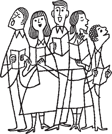 Illustration of singing choir of five people