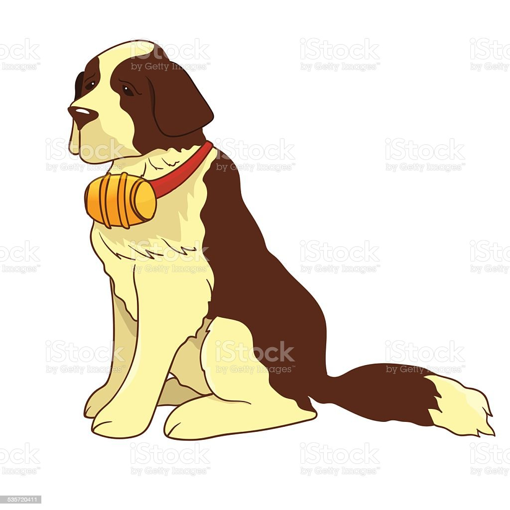 Illustration of sitting st. bernard vector art illustration