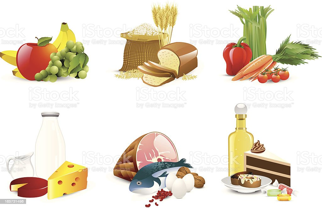 Illustration of six different food groups royalty-free stock vector art
