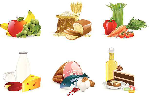 Illustration of six different food groups http://www.cumulocreative.com/istock/File Types.jpg bread icons stock illustrations