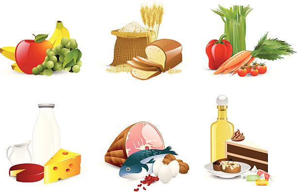 식품 그룹 - 유가공 식품 stock illustrations