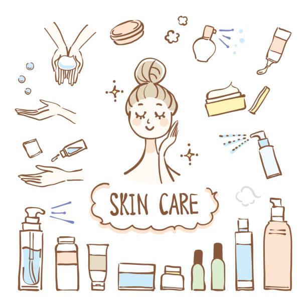 ilustrações, clipart, desenhos animados e ícones de ilustração de bens do cuidado de pele - tratamentos de beleza