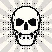 Illustration of skull on pop art background.