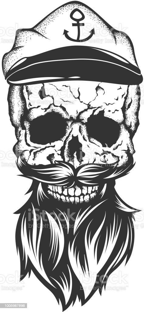 Illustration Of Skull With Captain Cap Beard And Mustache Royalty Free