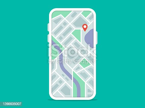 istock Illustration of smart phone with navigation app on screen 1266635007
