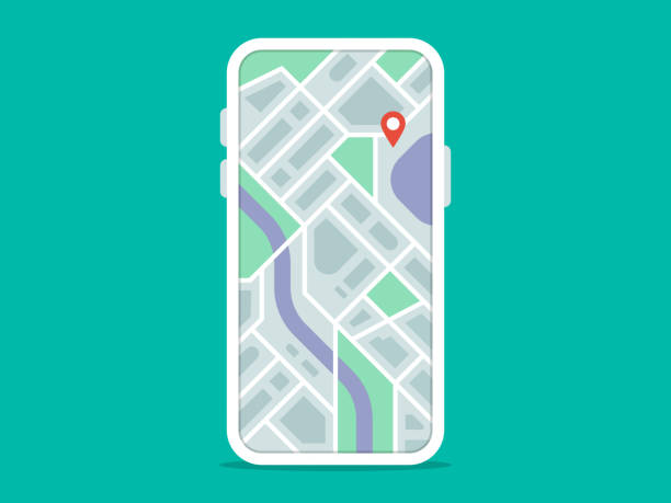 abbildung des smartphones mit navigations-app auf dem bildschirm - karte navigationsinstrument stock-grafiken, -clipart, -cartoons und -symbole