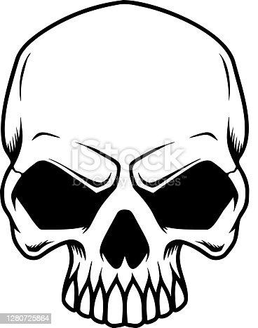 istock Illustration of smiling halloween skull. Design element for poster,card, banner, sign, emblem. Vector illustration 1280725864