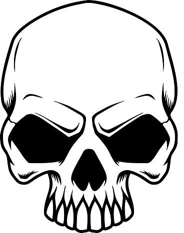 Illustration of smiling halloween skull. Design element for poster,card, banner, sign, emblem. Vector illustration