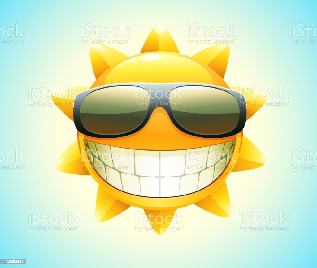 Smiling sun with sunglasses - Illustration Of Smiling Sun Wearing Sunglasses Showing Teeth Royalty Free Stock Vector Art