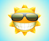Illustration of smiling sun wearing sunglasses showing teeth