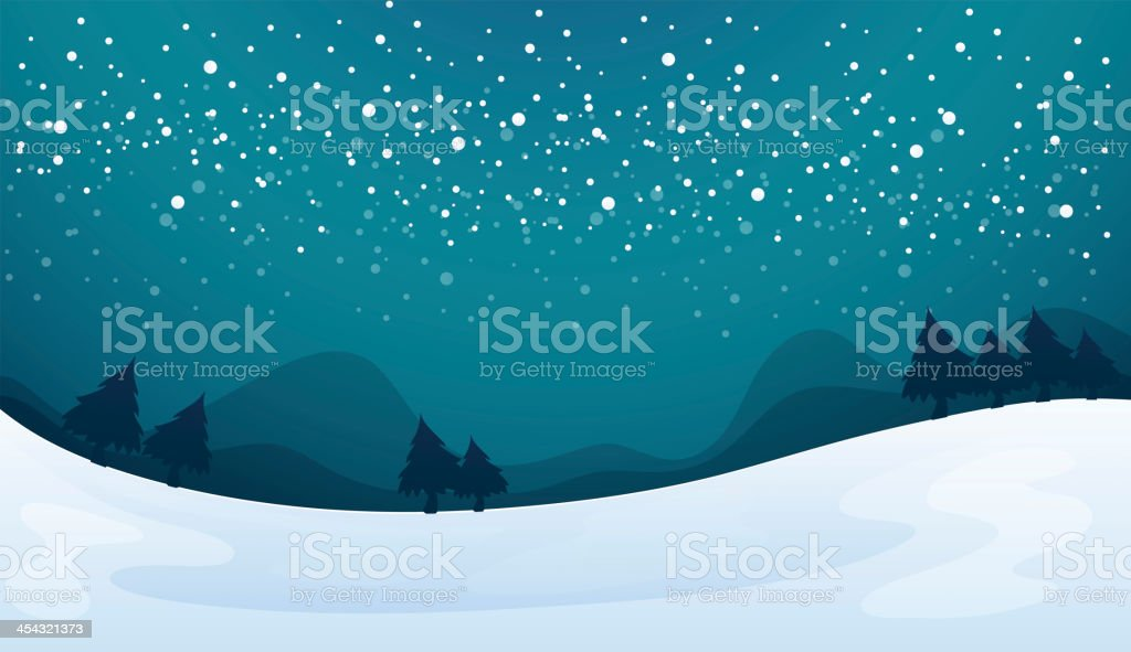 Illustration of snowy landscape in a forest at night royalty-free stock vector art