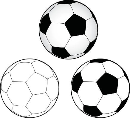 Illustration of soccer balls on a white background