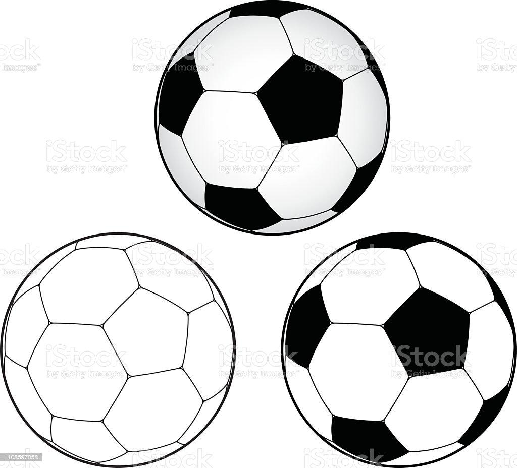 Illustration of soccer balls on a white background vector art illustration