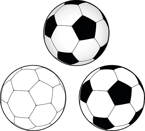 Illustration of soccer balls on a white background vector art illustration