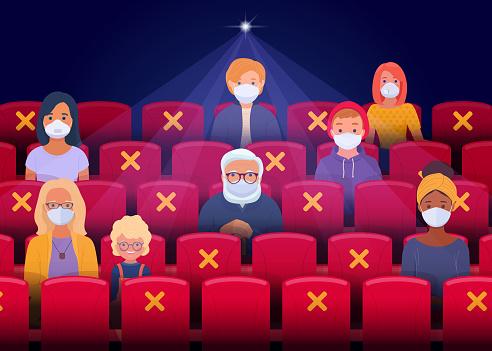 Illustration of social distancing in cinema hall