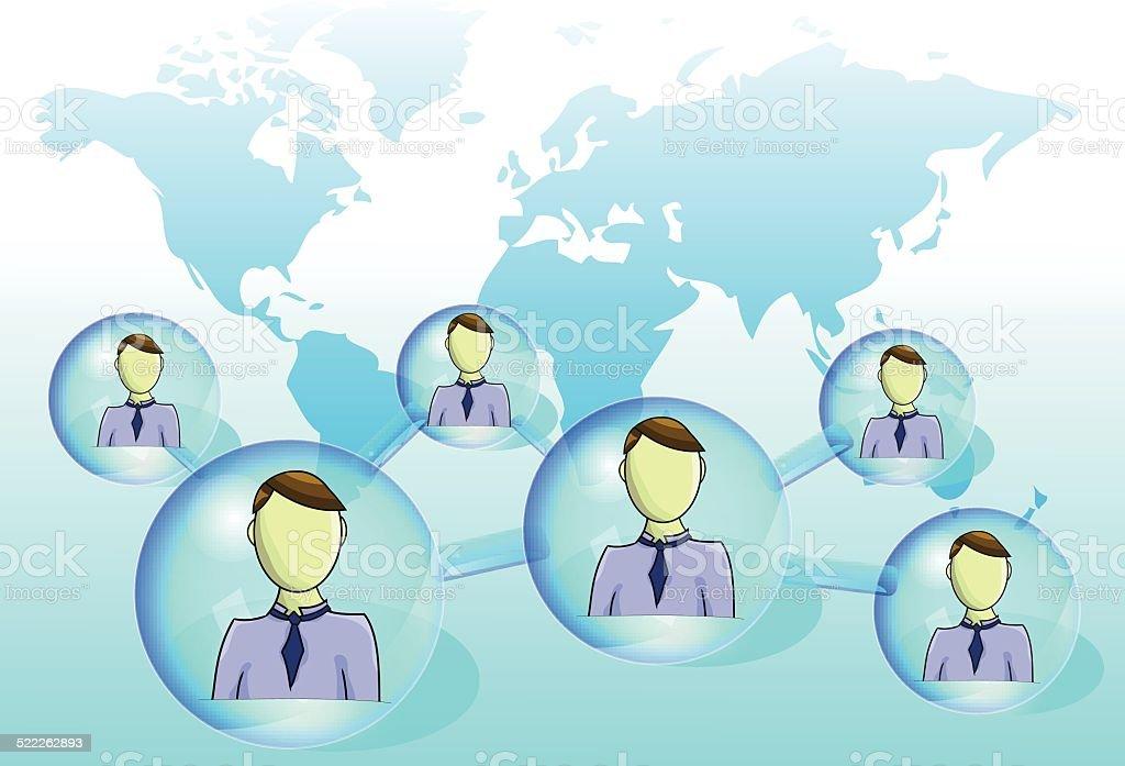 Illustration of social network with world map vector art illustration
