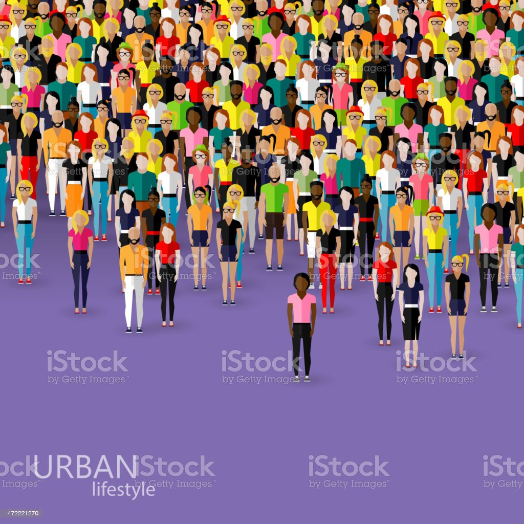 illustration of society members with crowd of men and women vector art illustration