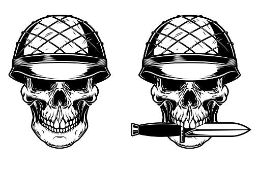 Illustration of soldier skull with knife. Design element for poster, card, banner,emblem, sign. Vector illustration