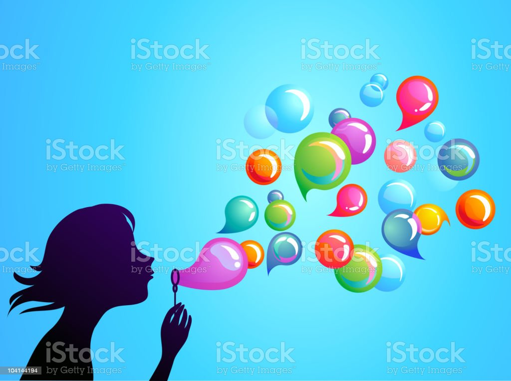 Illustration of someone blowing speech and soap bubbles vector art illustration