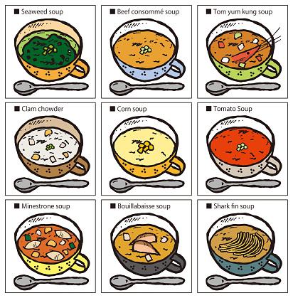 Illustration of soup set.