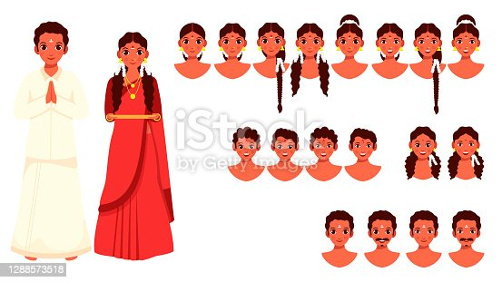 istock Illustration Of South Indian Couple Character With Different Type Faces On White Background. 1288573518