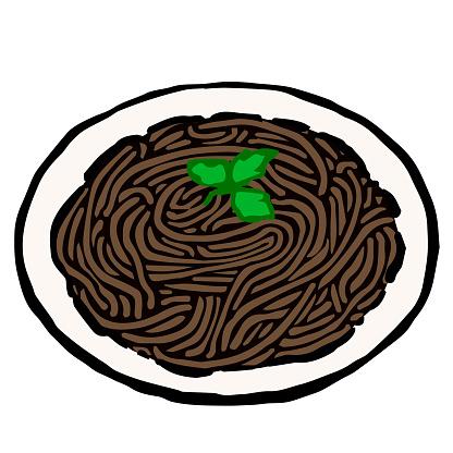 Illustration of Spaghetti al Nero di Seppie: Illustration like woodblock print