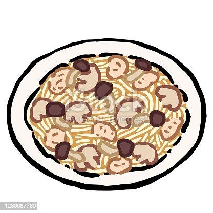 istock Illustration of Spaghetti pollo e funghi: Hand drawn vector illustration like woodblock print 1280087760