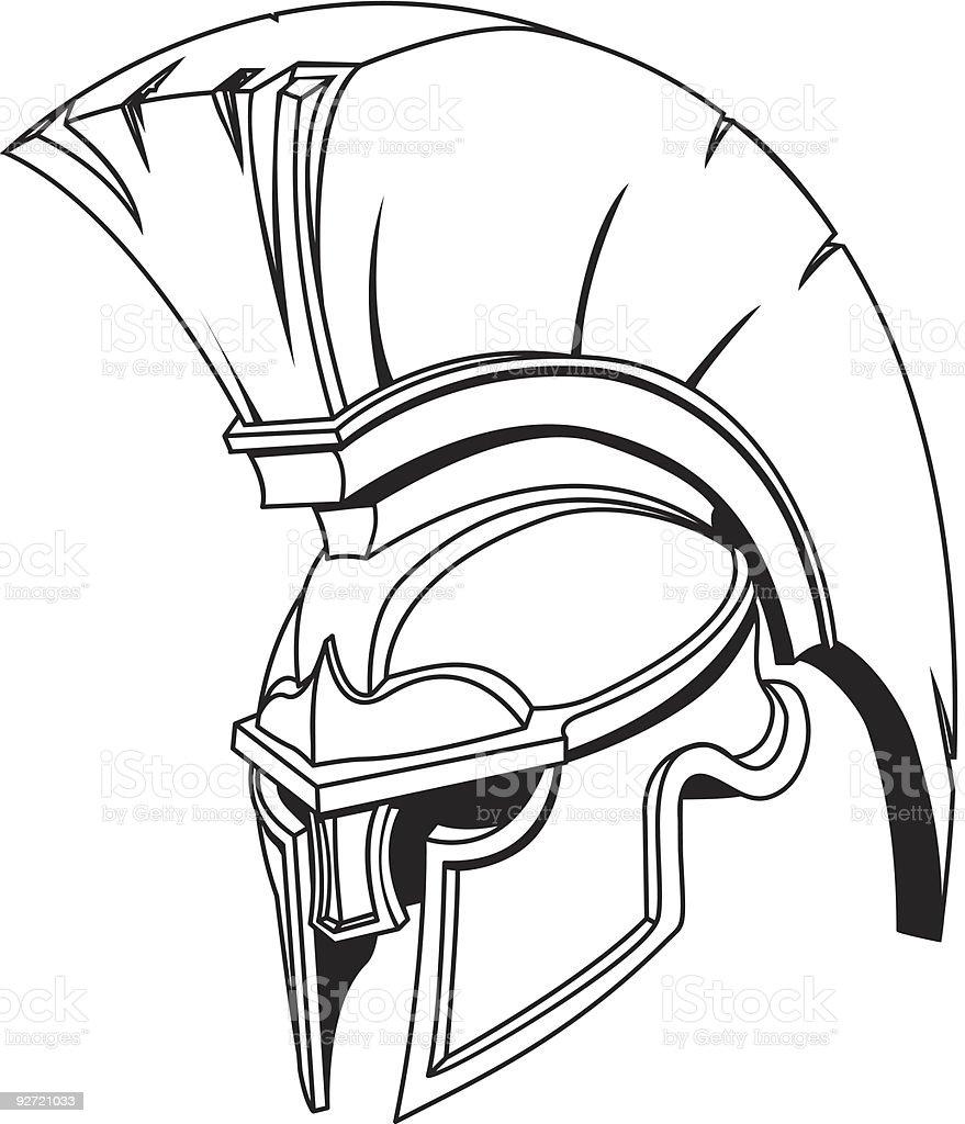 Illustration of Spartan roman greek trojan or gladiator helmet vector art illustration