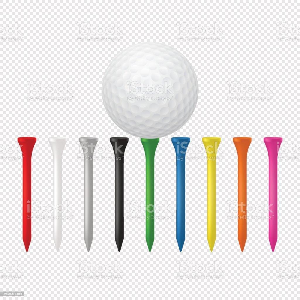 Ilustração de esportes conjunto - bola de golfe realista com tees. Modelos de design em vetor. Closeup isolado em fundo transparente - ilustração de arte em vetor