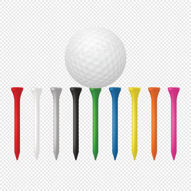 illustration of sports set - realistic golf ball with tees. design templates in vector. closeup isolated on transparent background - мяч для гольфа stock illustrations
