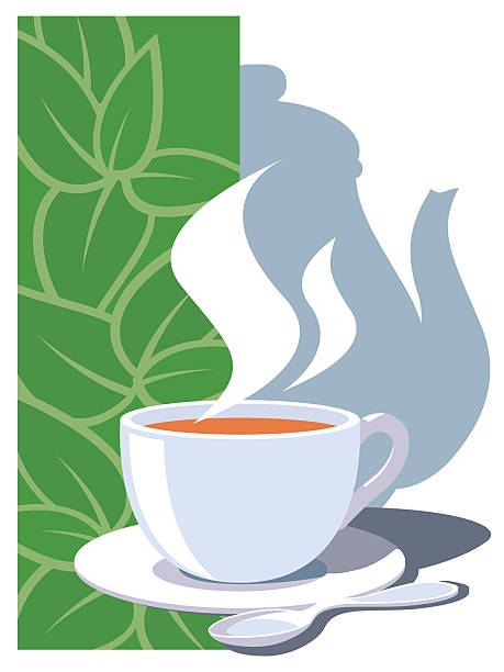 illustration of steaming tea on saucer with green background - stacked tea cups stock illustrations, clip art, cartoons, & icons