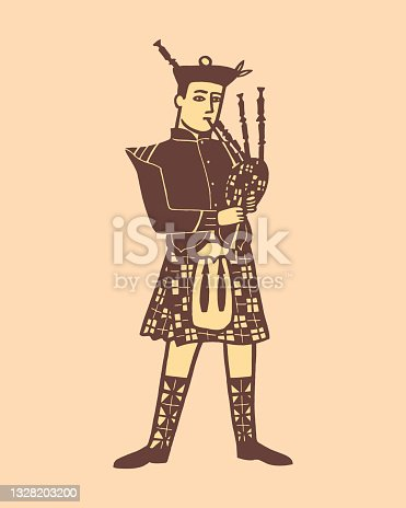 istock Illustration of stereotypical Scottish man playing bagpipes 1328203200