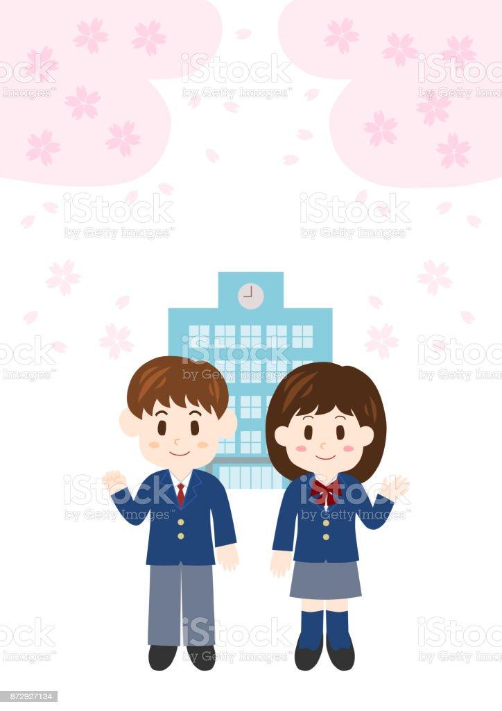 Illustration of student(new student) vector art illustration