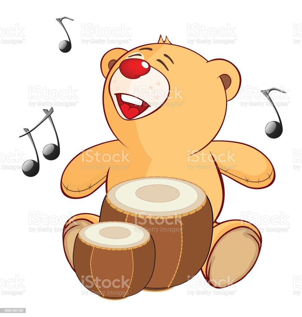 Illustration of Stuffed Toy Bear Cub Drummer Cartoon Character vector art illustration