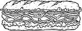 istock Illustration of submarine sandwich. Design element for poster, card, banner, sign, flyer. Vector illustration 1183029248