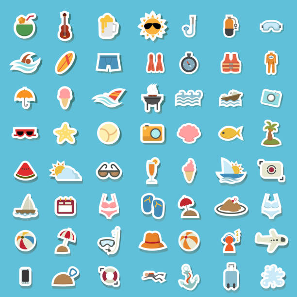 illustration of summer icon - summer background stock illustrations
