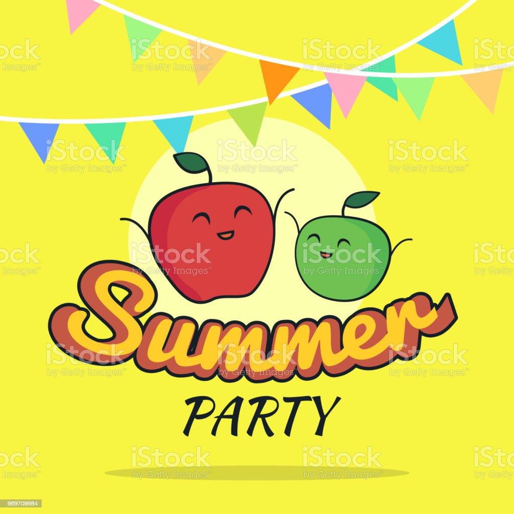 かわいいリンゴの文字子供はがき生菜食主義者党概念夏祭りポスター漫画
