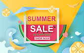 illustration of Summer Sale Banner With Watermelon. up to 50% off. Special Offer Creative design paper cut and craft style for card and poster colorful. Holiday tropical concept. Vector Illustration