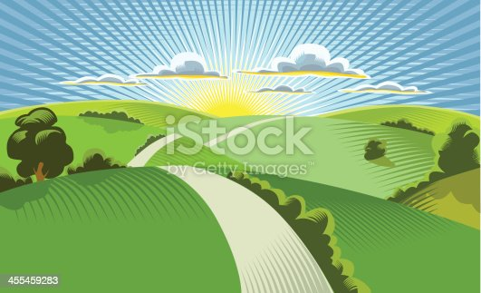 istock Illustration of sun rising behind rolling hills 455459283