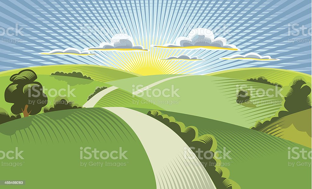 Illustration of sun rising behind rolling hills vector art illustration