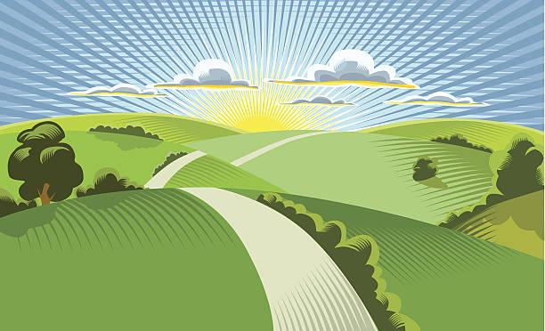 illustration of sun rising behind rolling hills - sunrise stock illustrations, clip art, cartoons, & icons