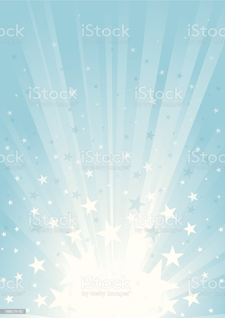 Illustration of sunbeam and star burst in white and blue royalty-free stock vector art