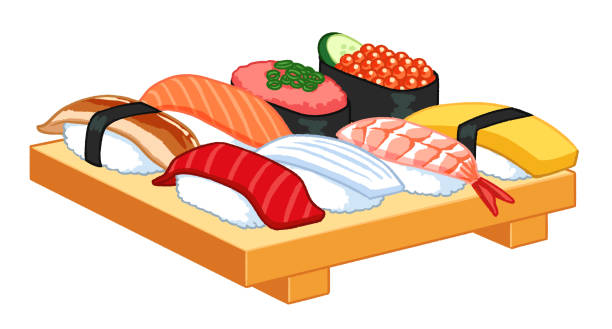 Illustration of sushi for one person Vector Illustration of various sushi for one person serving dish stock illustrations